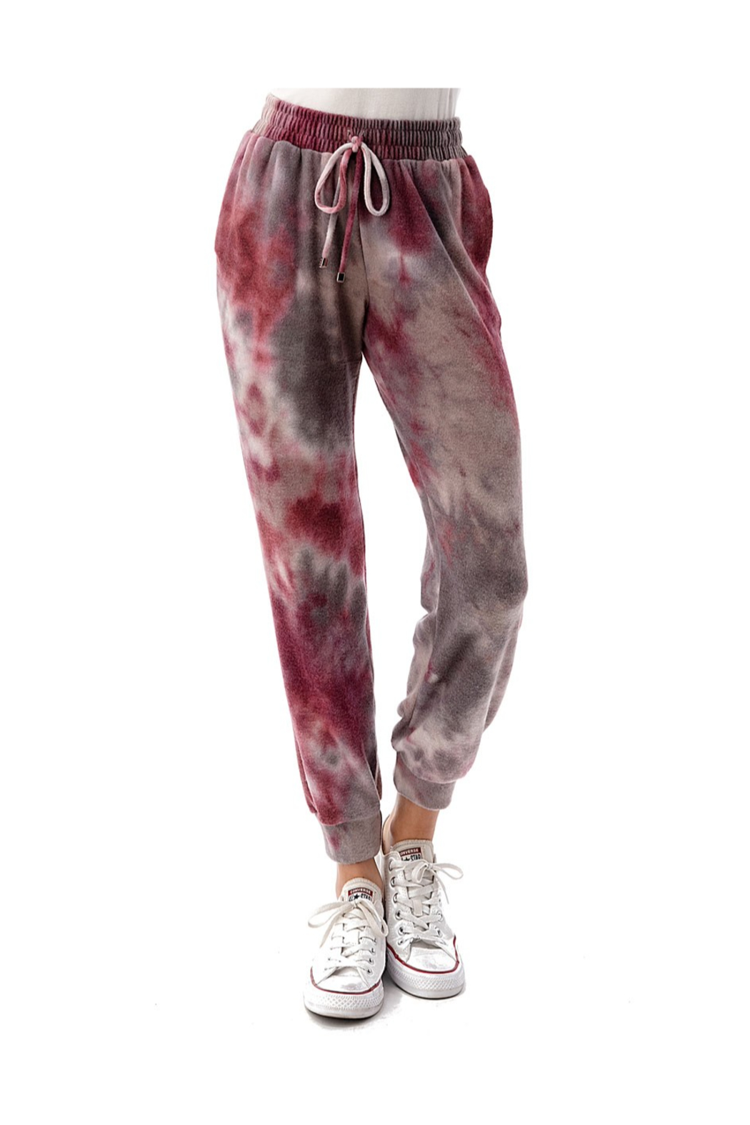 Ariella USA Wine Tie Dye Side Pocket Joggers - Front Cropped Image