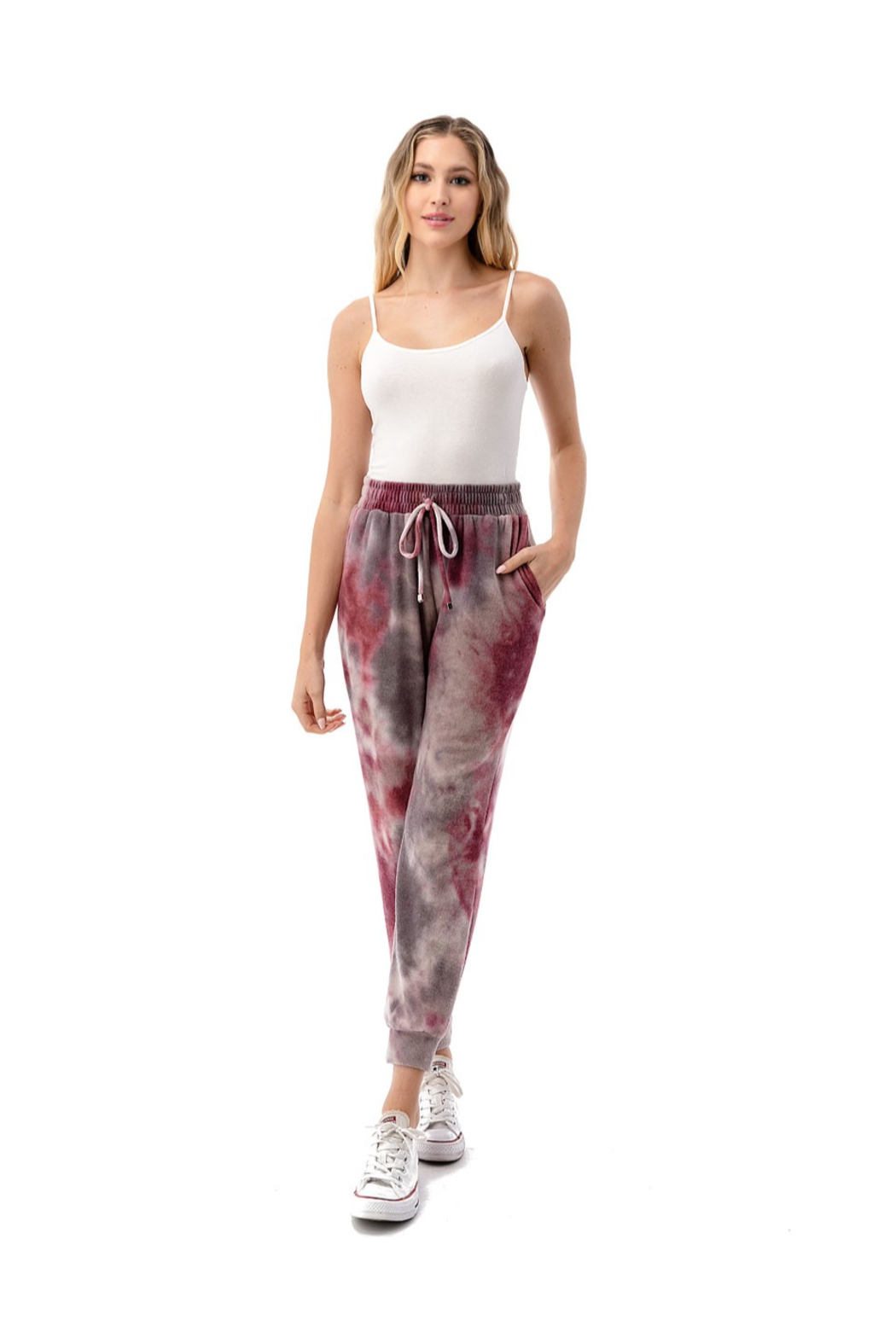 Ariella USA Wine Tie Dye Side Pocket Joggers - Back Cropped Image