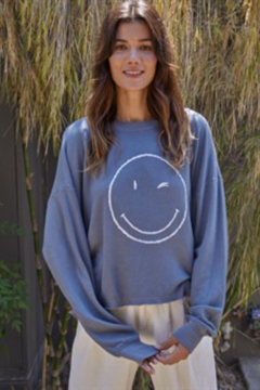 Shoptiques Product: Winky Face French Terry Sweatshirt