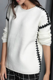 Maude Winona Black Stitching Sweater - Product Mini Image