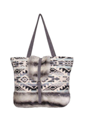 America & Beyond Winter Dusk Jacquards and Faux Fur Shoulder Bag - Product Mini Image