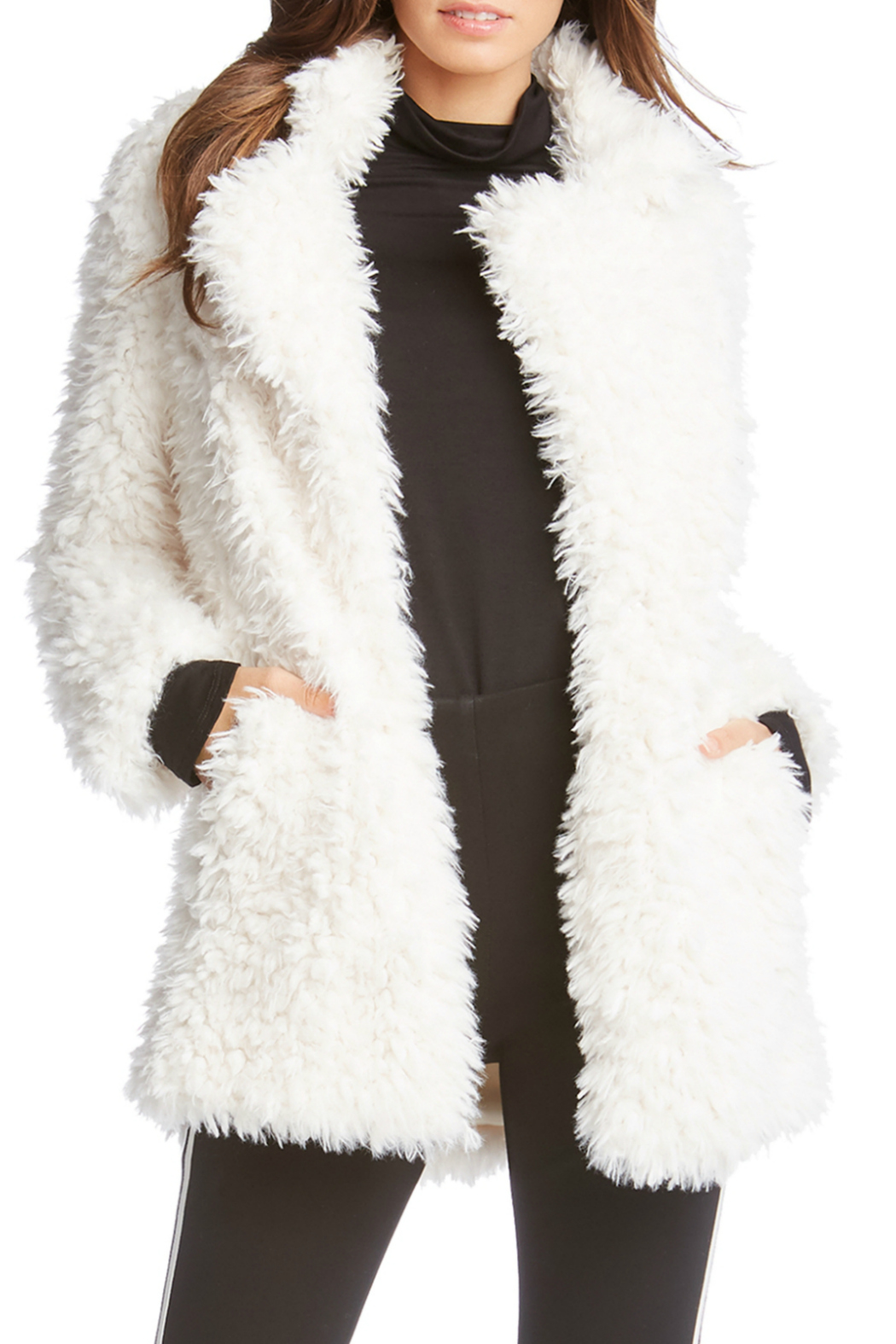 Fifteen Twenty Winter White Faux Fur Jacket - Front Cropped Image