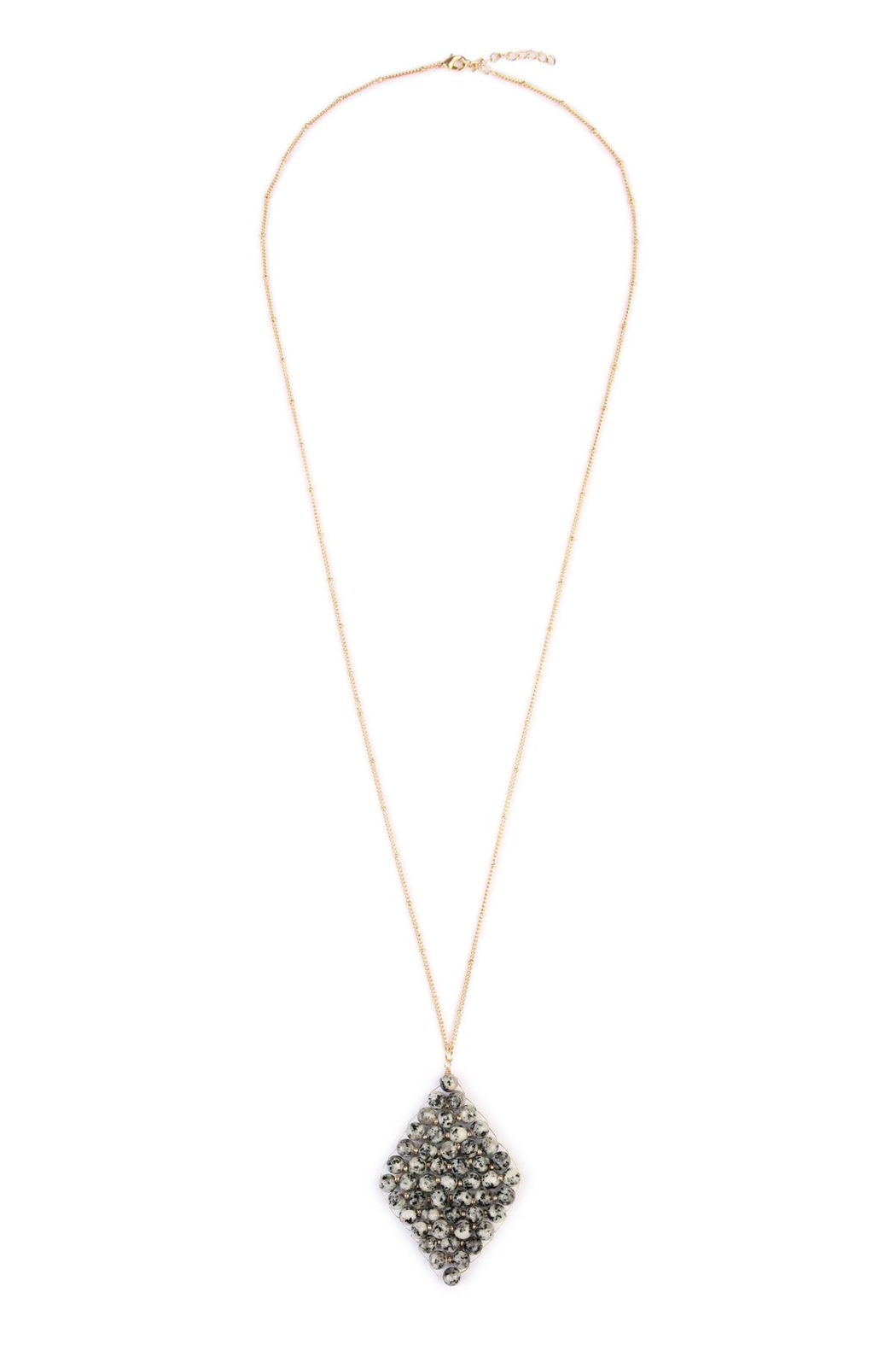 Riah Fashion Wired Stone Necklace - Front Cropped Image