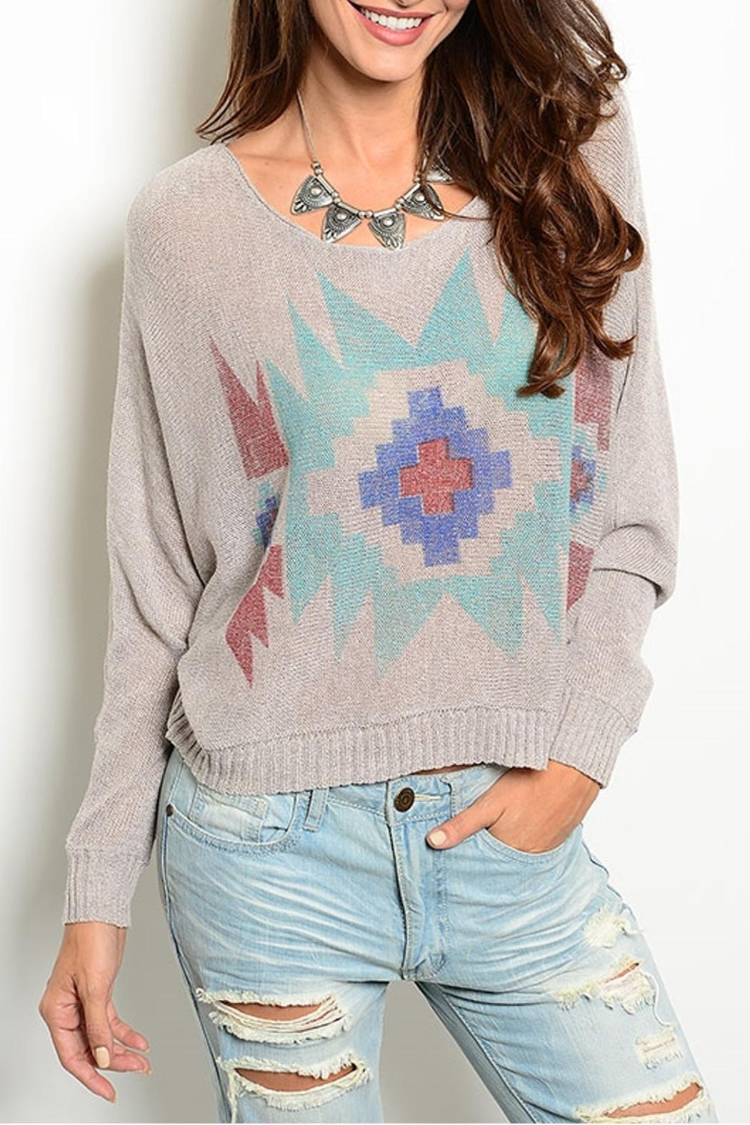 Wise & Pretty Tribal Print Top - Front Cropped Image