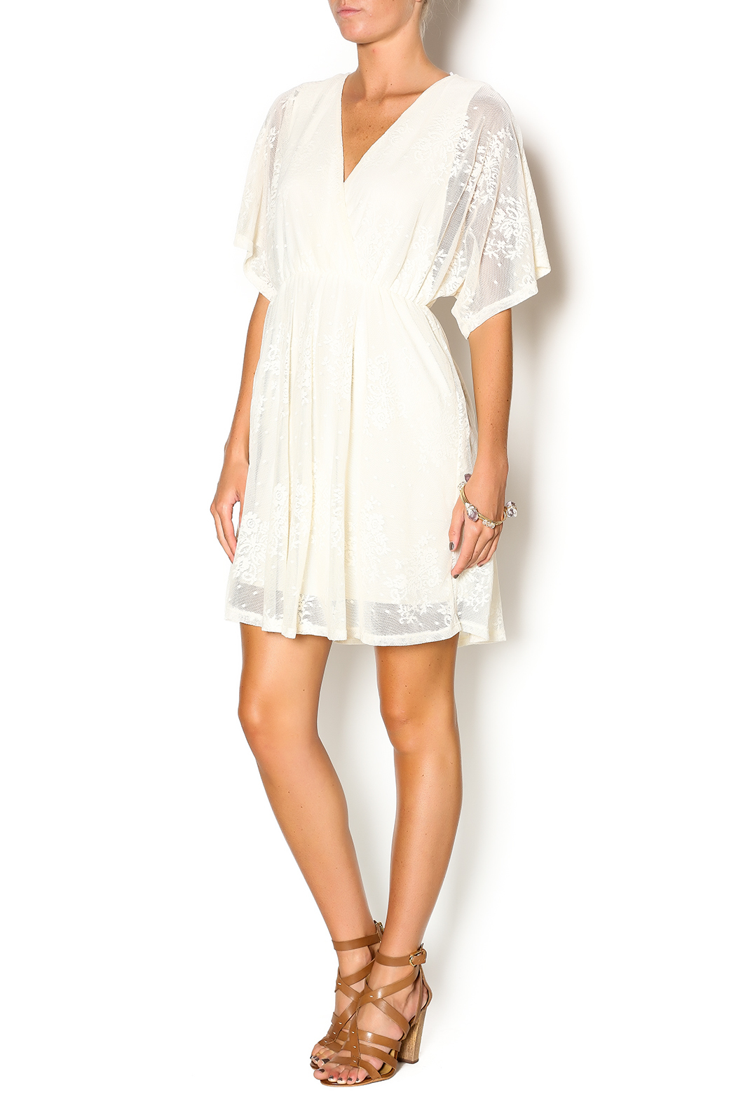 Wish Collection Cross-Front Lace Dress - Front Full Image