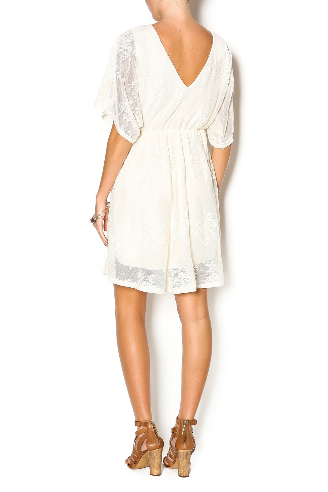 Wish Collection Cross-Front Lace Dress - Side Cropped Image