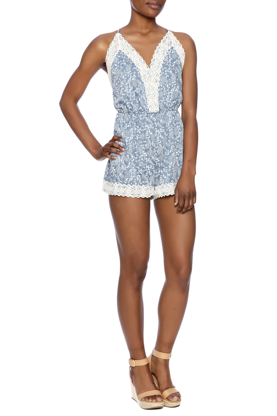 Wish Collection Denim And Lace Romper From Omaha By Jade Love U2014 Shoptiques