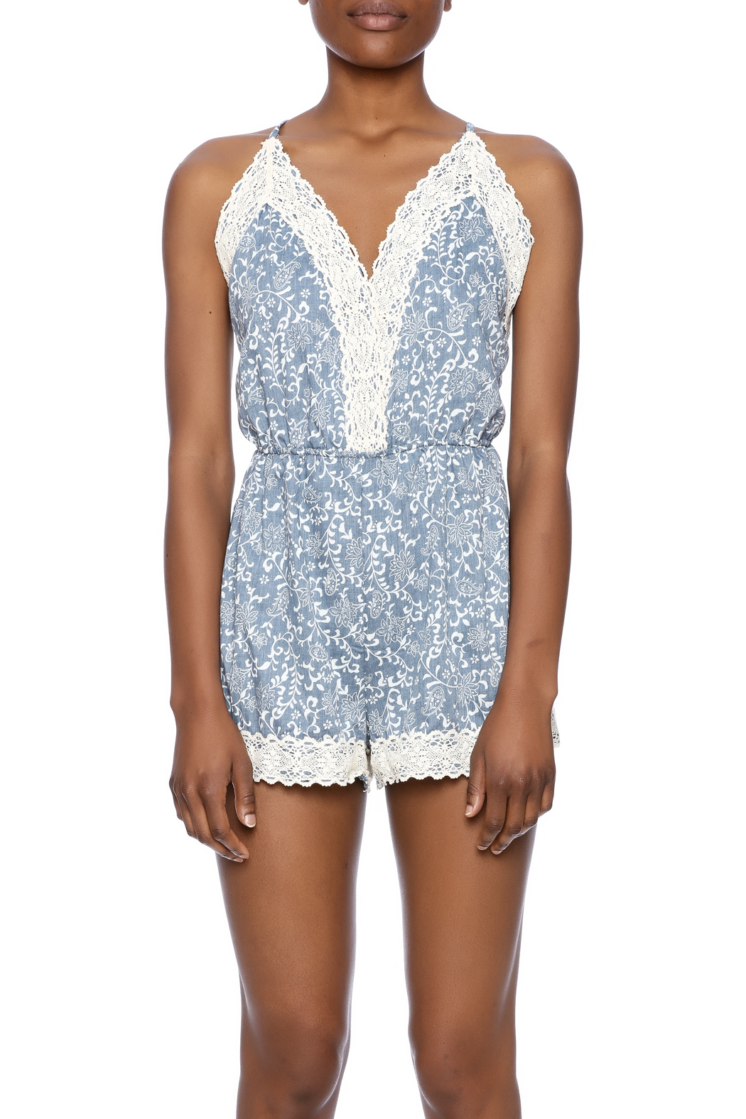 Wish Collection Denim And Lace Romper - Side Cropped Image