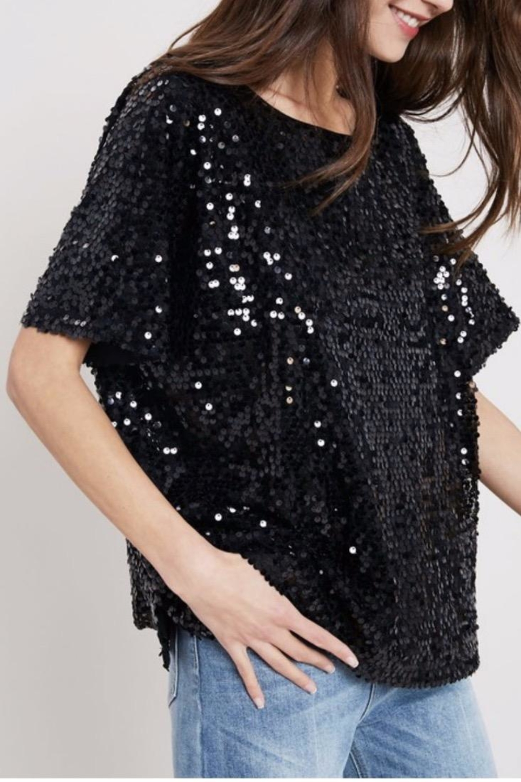 Wishlist Black Sequins Tee - Main Image