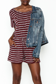Wishlist Burgundy Striped Romper - Product Mini Image