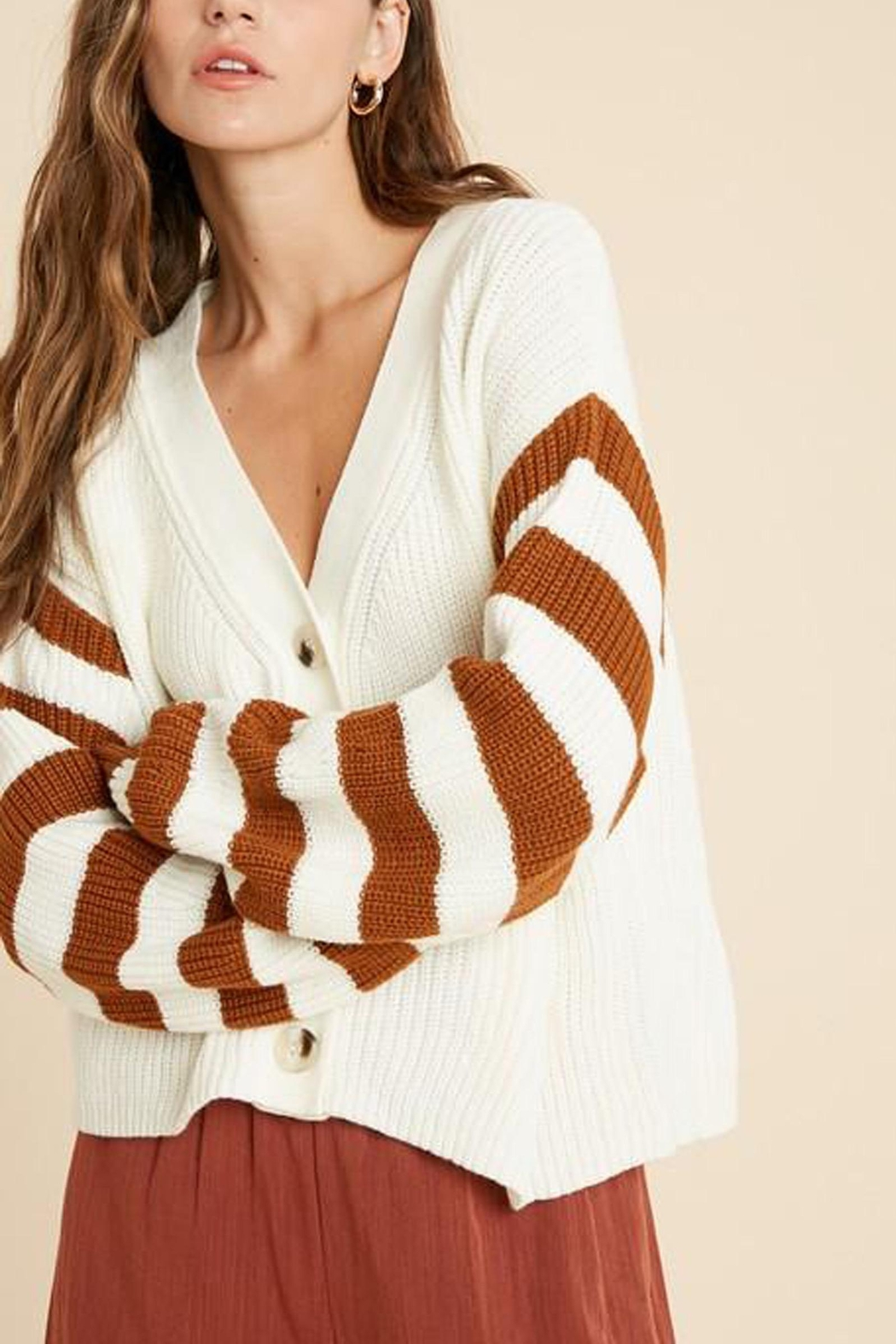 Wishlist Button-Down Striped-Sleeve Cardigan - Front Full Image