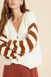 Wishlist Button-Down Striped-Sleeve Cardigan - Front full body