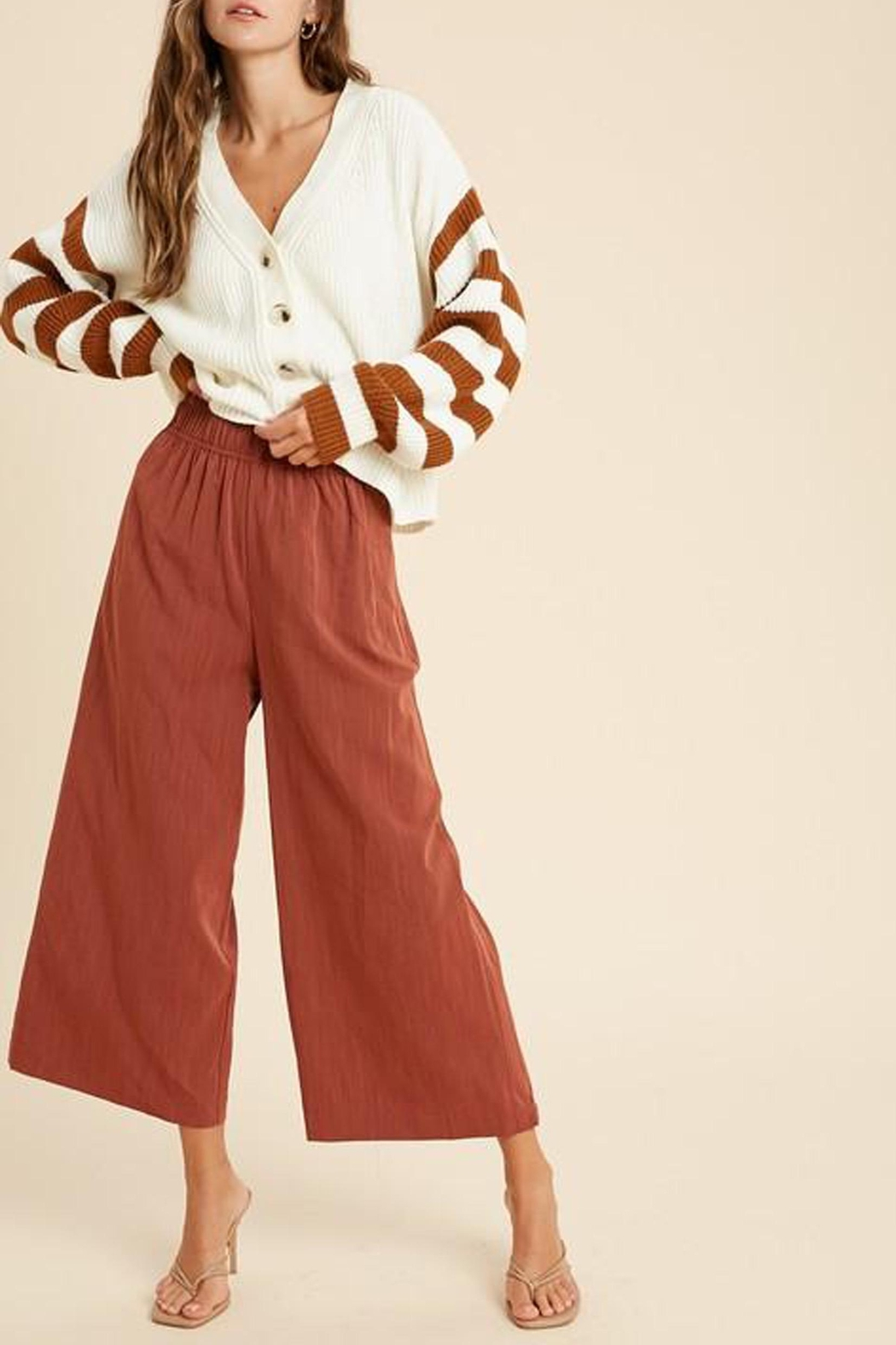 Wishlist Button-Down Striped-Sleeve Cardigan - Side Cropped Image