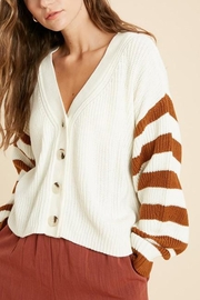 Wishlist Button-Down Striped-Sleeve Cardigan - Front cropped