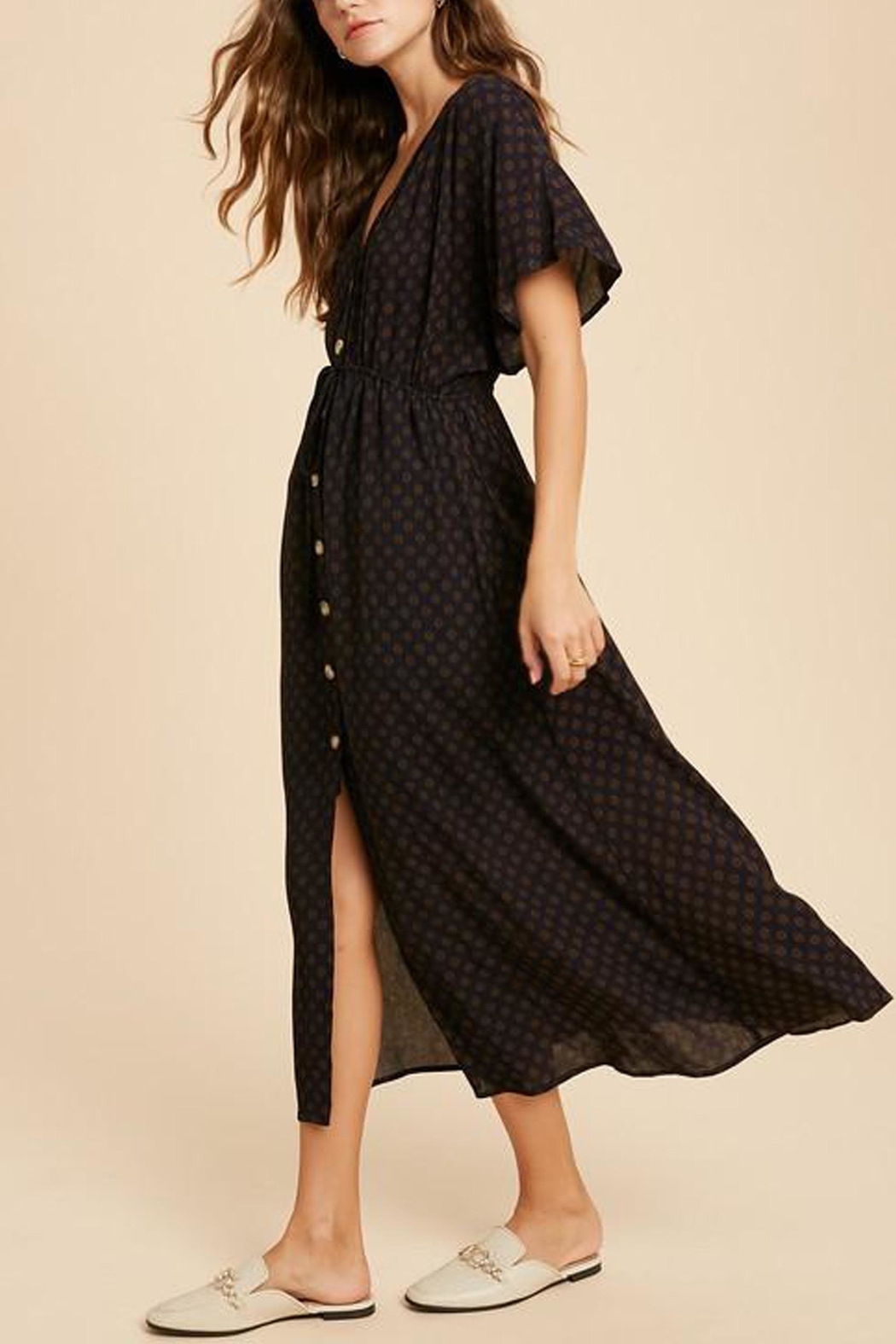 Wishlist Button-Down Waist-Tie Maxi-Dress - Side Cropped Image