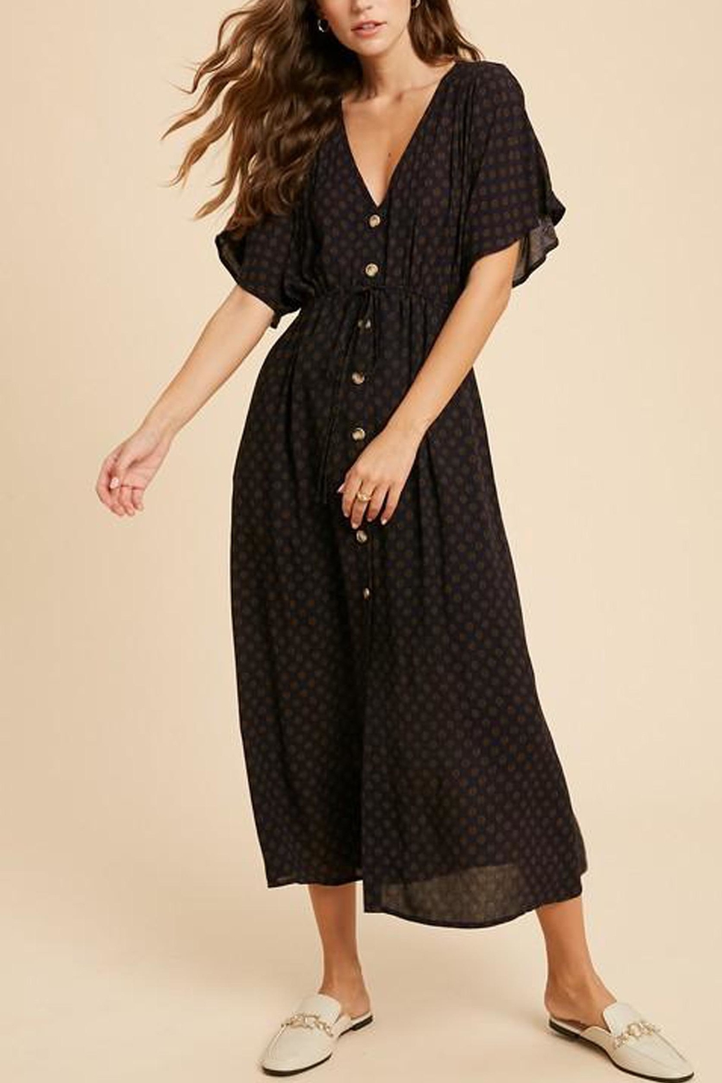 Wishlist Button-Down Waist-Tie Maxi-Dress - Back Cropped Image