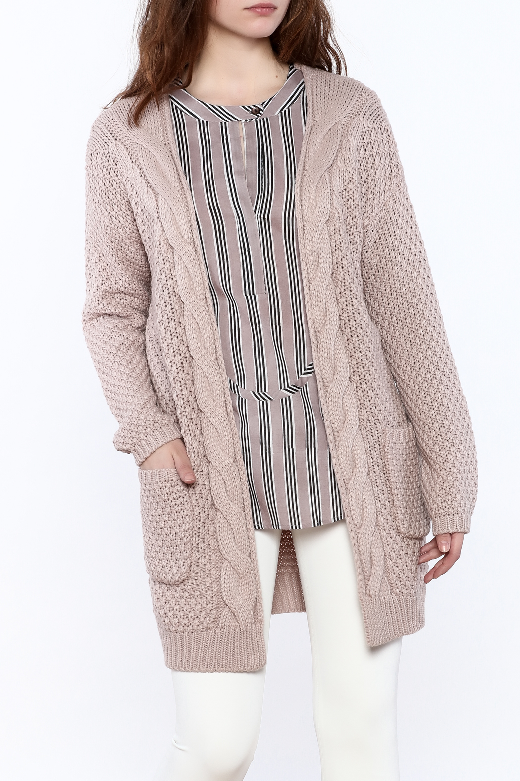 Wishlist Mauve Cable-Knit Cardigan from Connecticut by Deja Vu ...