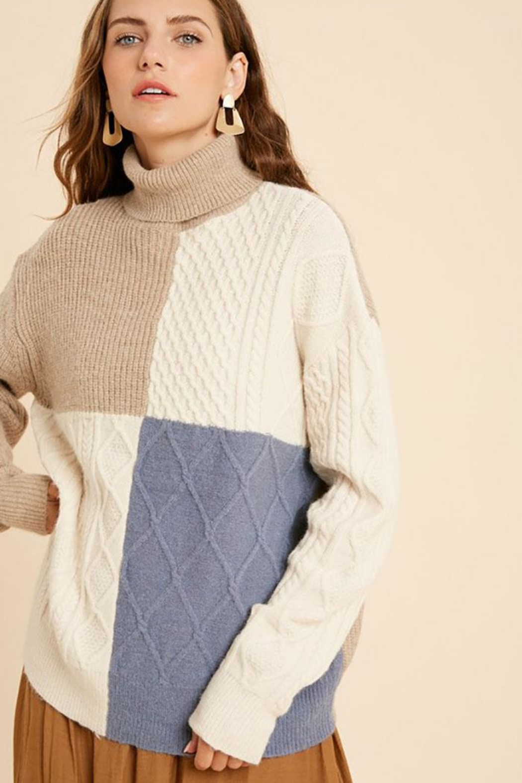 Wishlist Cable Knit Colorblock Turtle Neck Pullover Sweater - Side Cropped Image