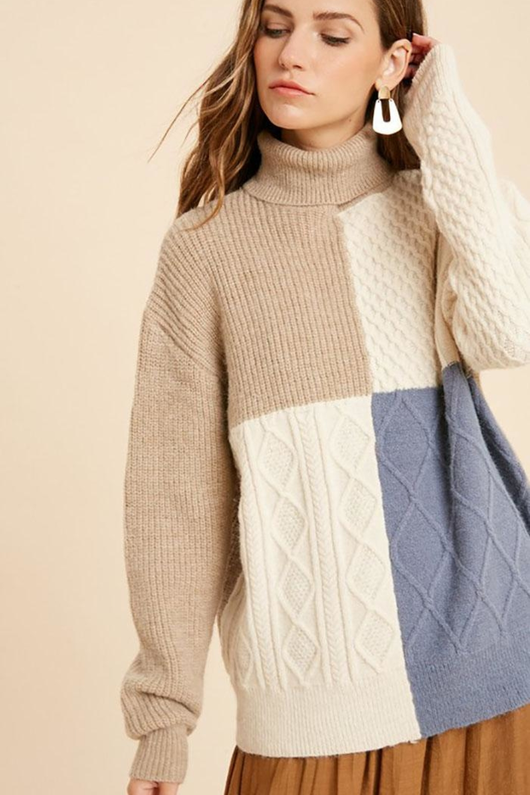 Wishlist Cable Knit Colorblock Turtle Neck Pullover Sweater - Main Image