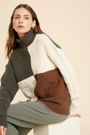 Wishlist Cable Knit Colorblock Turtle Neck Pullover Sweater - Front cropped