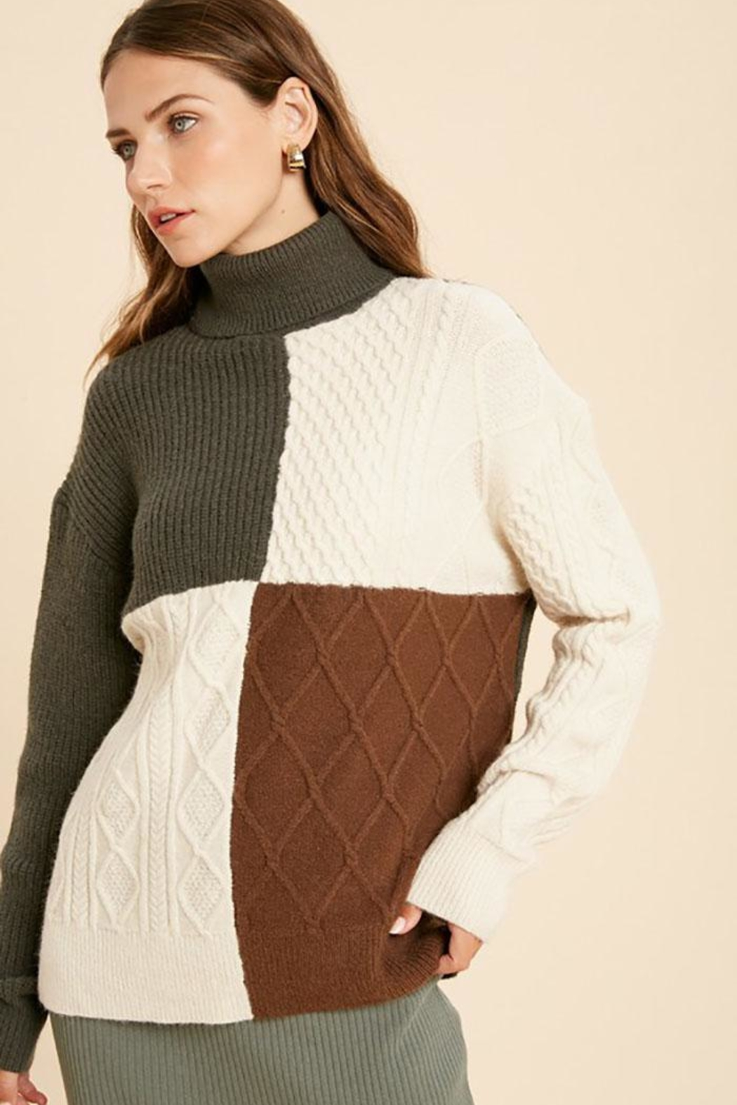 Wishlist Cable Knit Colorblock Turtle Neck Pullover Sweater - Front Full Image