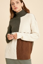 Wishlist Cable Knit Colorblock Turtle Neck Pullover Sweater - Side cropped