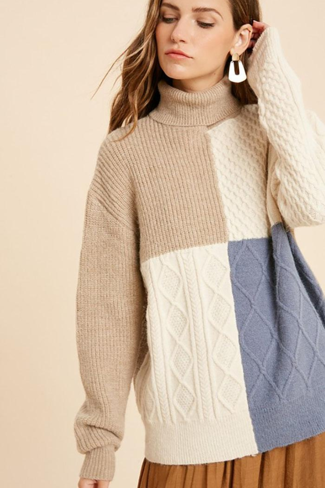 Wishlist Cable Knit Colorblock Turtleneck Pullover Sweater - Front Cropped Image