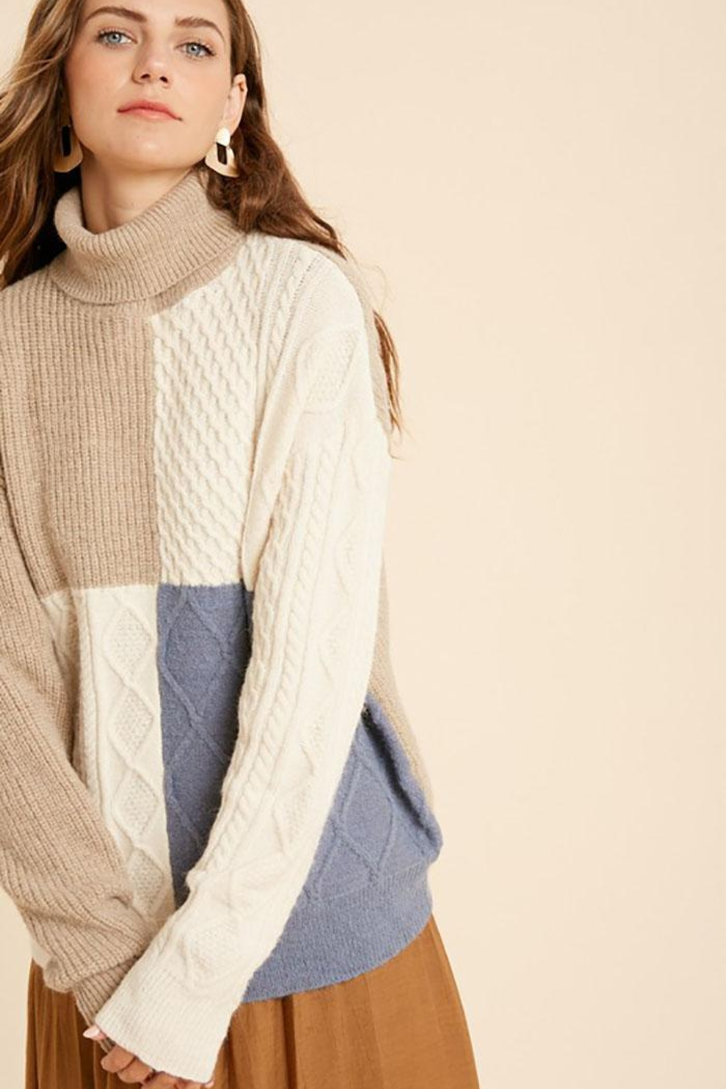 Wishlist Cable Knit Colorblock Turtleneck Pullover Sweater - Front Full Image
