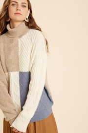 Wishlist Cable Knit Colorblock Turtleneck Pullover Sweater - Front full body
