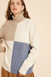 Wishlist Cable Knit Colorblock Turtleneck Pullover Sweater - Side cropped