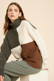 Wishlist Cable Knit Colorblock Turtleneck Pullover Sweater - Front cropped