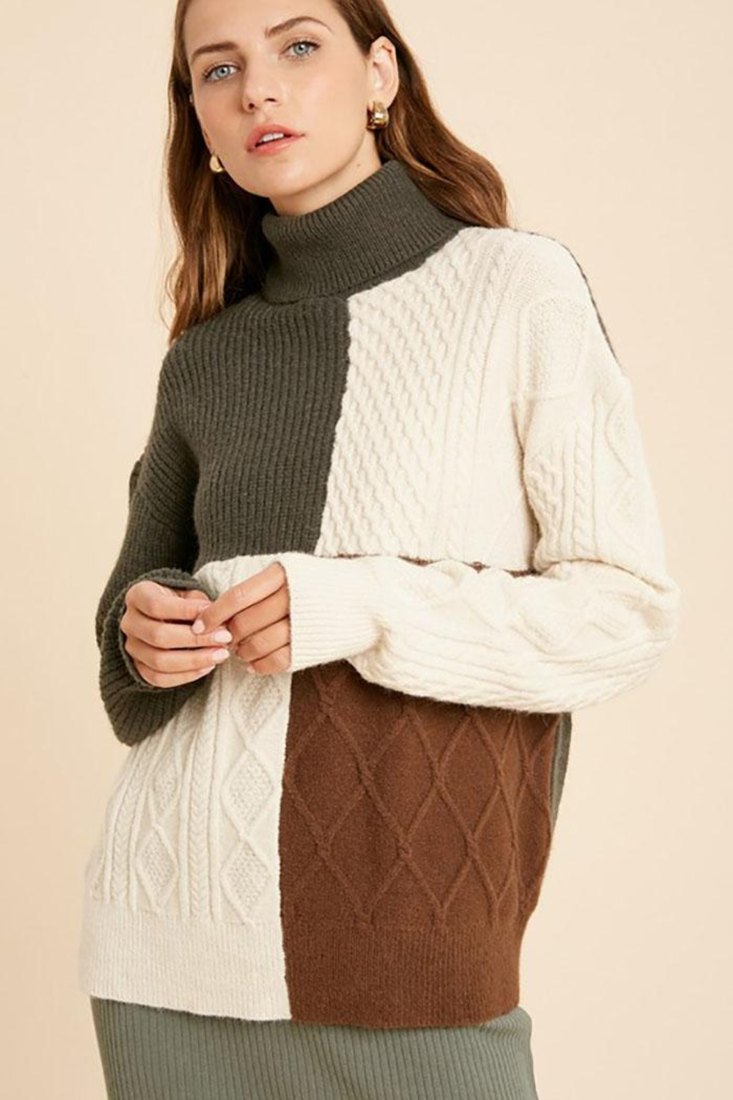 Wishlist Cable Knit Colorblock Turtleneck Pullover Sweater - Side Cropped Image