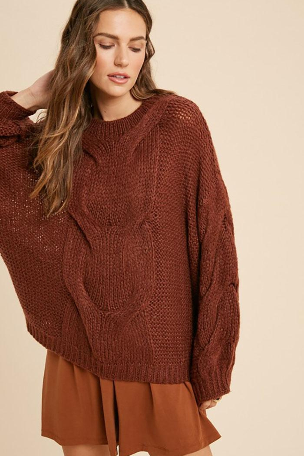 Wishlist Chunky Knit Puff Bubble Sleeve Pullover Sweater - Front Full Image