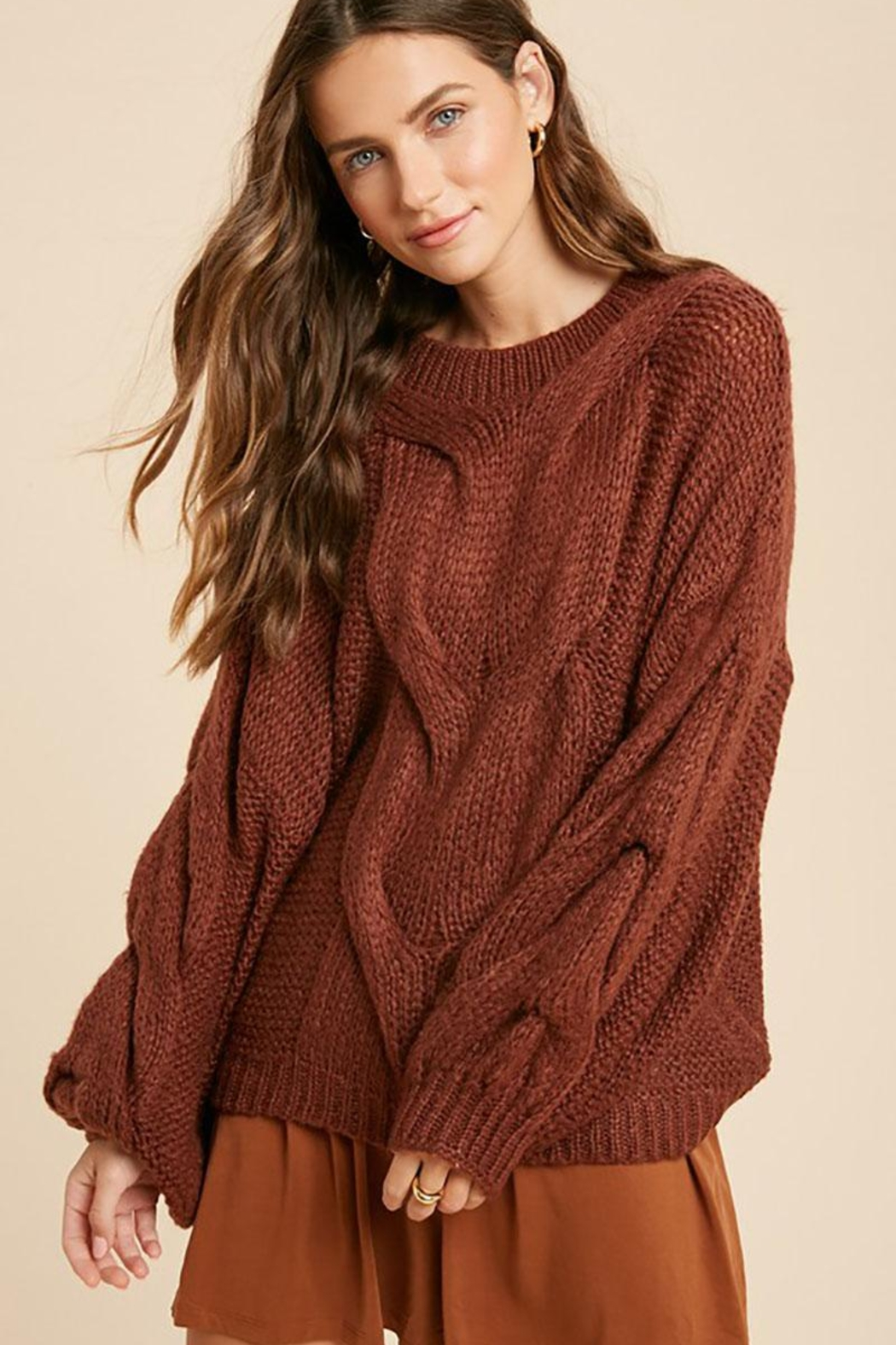 Wishlist Chunky Knit Puff Bubble Sleeve Pullover Sweater - Main Image
