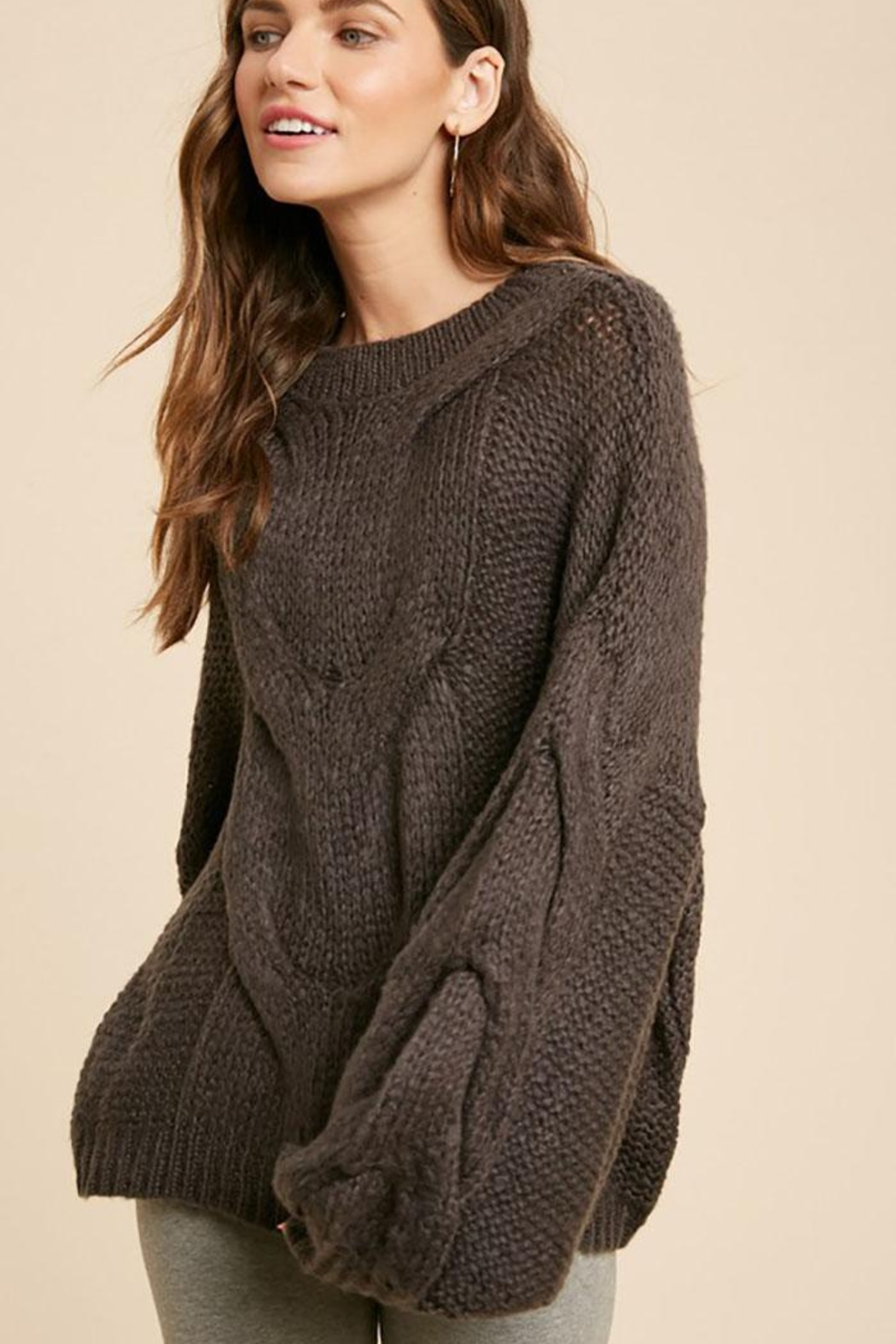 Wishlist Chunky Knit Puff Bubble Sleeve Pullover Sweater - Front Cropped Image