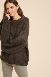 Wishlist Chunky Knit Puff Bubble Sleeve Pullover Sweater - Front full body