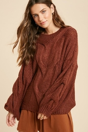 Wishlist Chunky Knit Puff Bubble Sleeve Pullover Sweater - Product Mini Image