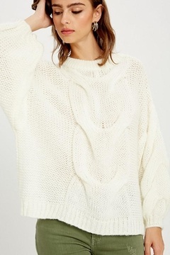 Shoptiques Product: Chunky Knit Puff Bubble Sleeve Pullover Sweater
