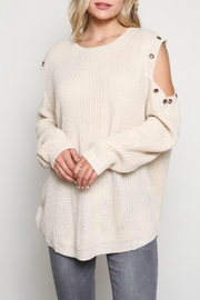 Wishlist Cold-Shoulder Grommet Sweater - Product Mini Image