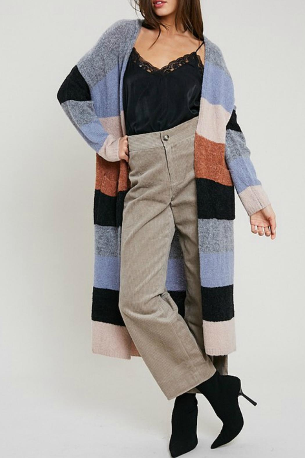Wishlist Color-Block Cardi Maxi - Front Cropped Image