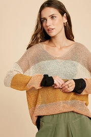 Wishlist Colorblock Loose Fit V Neck Lightweight Knit Sweater Pullover Top - Front full body