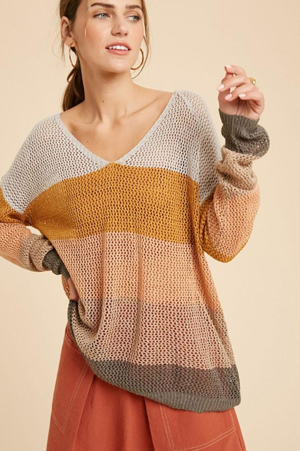 Wishlist Colorblock Loose Fit V Neck Lightweight Knit Sweater Pullover Top - Main Image