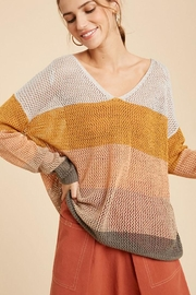 Wishlist Colorblock Loose Fit V Neck Lightweight Knit Sweater Pullover Top - Side cropped
