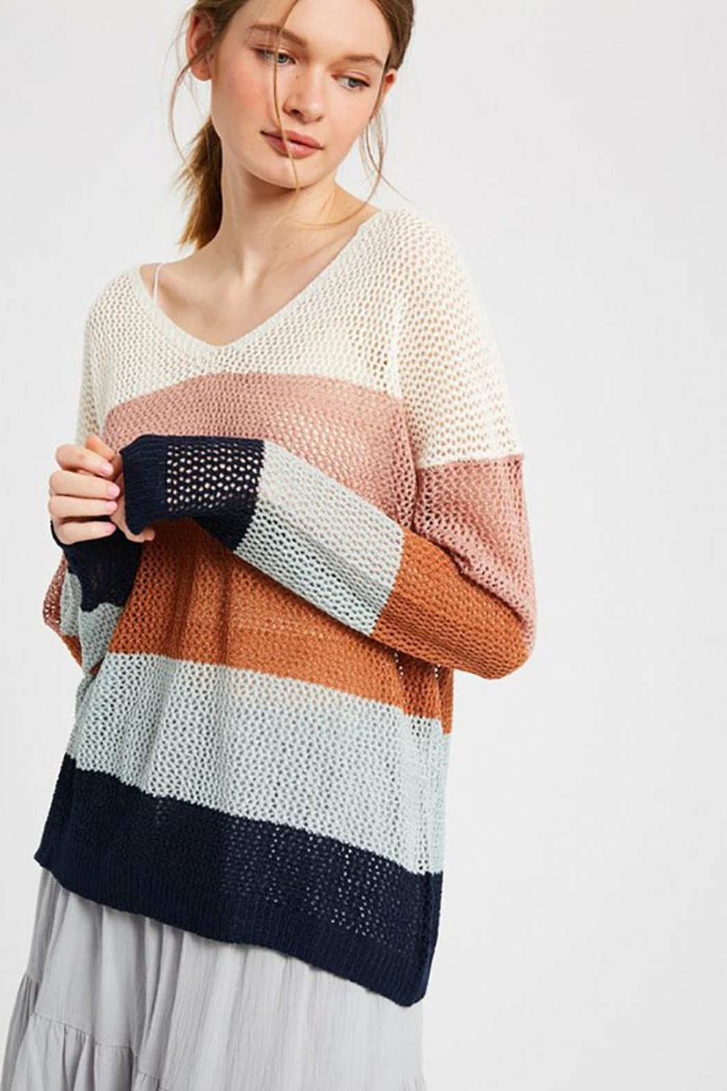 Wishlist Colorblock Loose Fit V Neck Lightweight Knit Sweater Pullover Top - Front Cropped Image