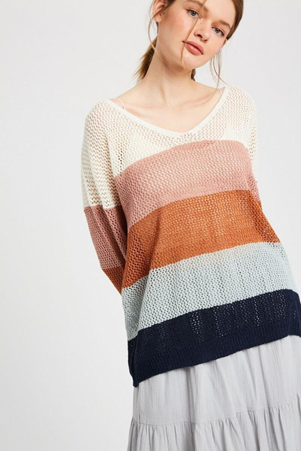 Wishlist Colorblock Loose Fit V Neck Lightweight Knit Sweater Pullover Top - Side Cropped Image