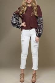 Wishlist Contrast-Sleeve Thermal Top - Front full body