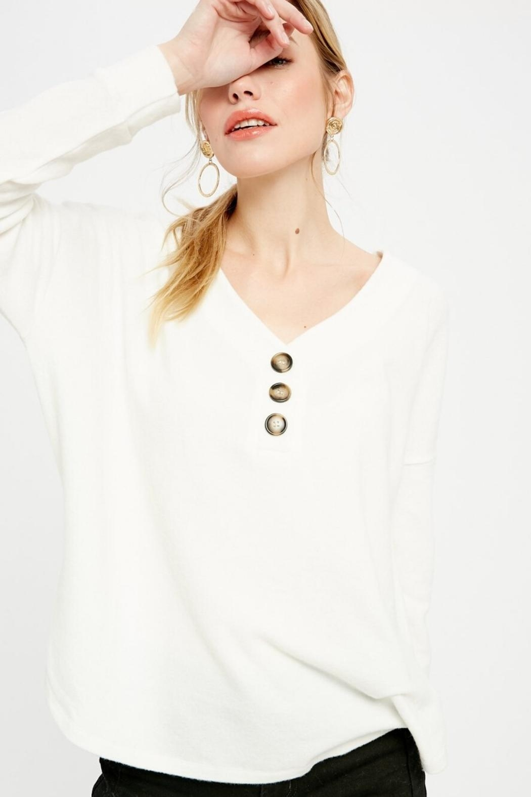 Wishlist Knit Henley Top - Main Image
