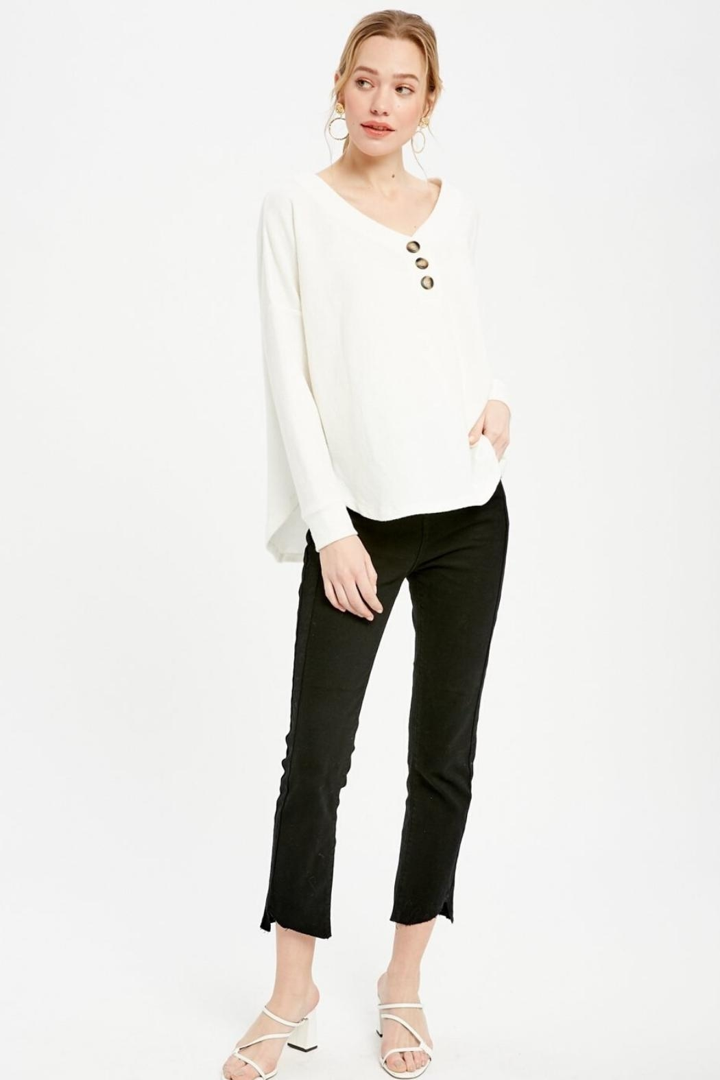 Wishlist Knit Henley Top - Front Full Image
