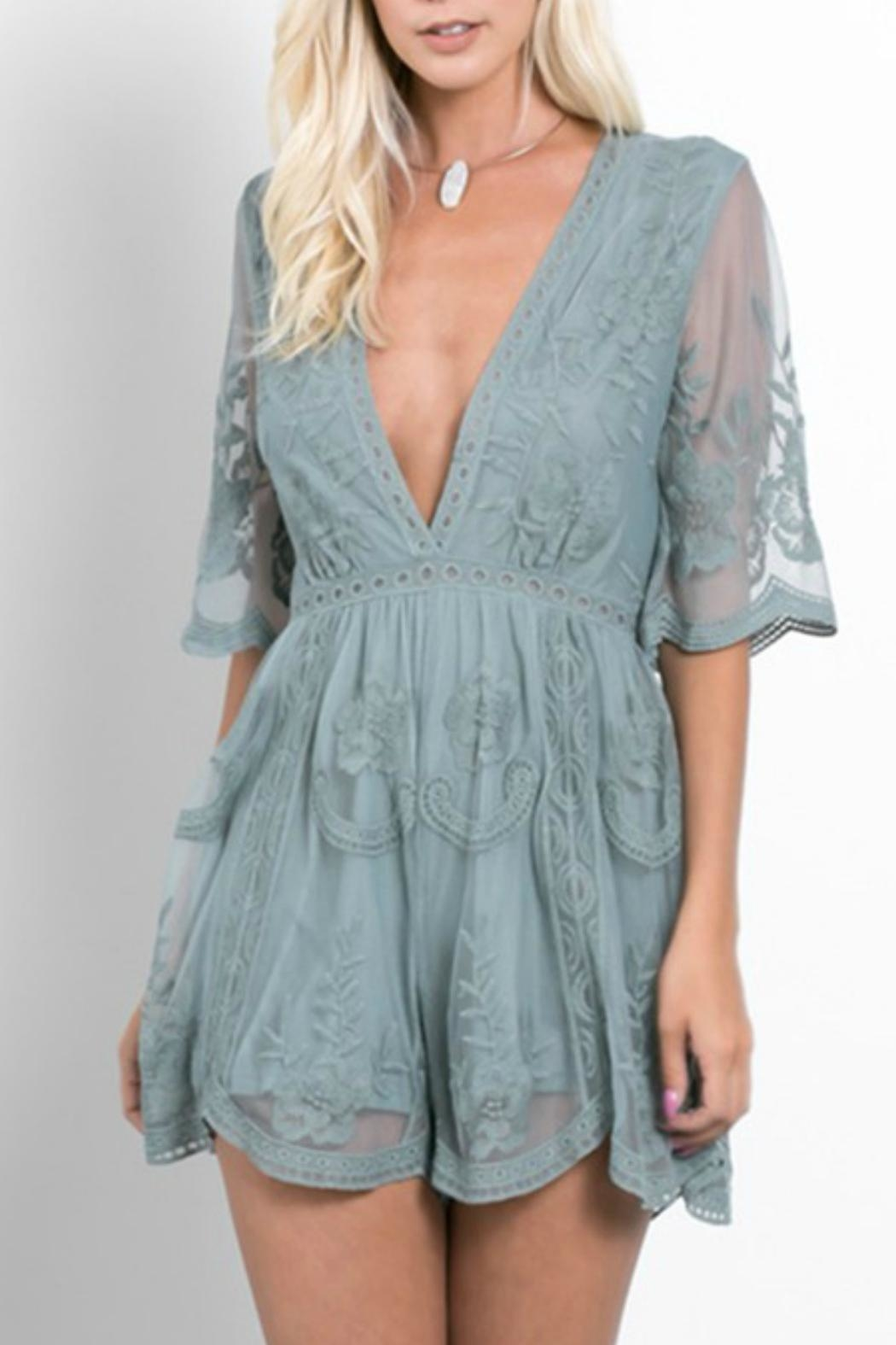 Wishlist Lace Plunge Romper - Front Cropped Image