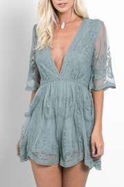 Wishlist Lace Plunge Romper - Front cropped
